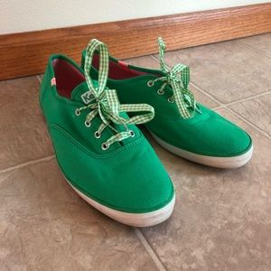 Keds Green Sneakers with Gingham Laces